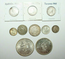 Lot of 10 Foreign Silver Coins -1900s