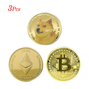 1* Gold Dogecoin+1*Gold Bit coin+1*Gold Ethereum Coin commemorative coin Collect