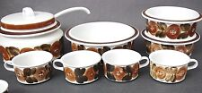 Set of 4 Arabia Finland Signed Ulla Procope Brown Anemone Flat Cups Only