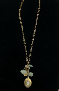 Liz Palacios S.F. Womens Locket Necklace Crystals Chains Jewelry Gold 8.5""
