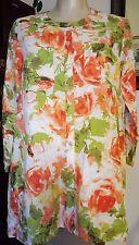 JONES NEW YORK SPORT 100% Linen Orange Green Floral 3/4 Sleeve Blouse Jacket - S