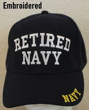 Embroidered Retired Navy Hat Blue Adjustable Mens Cap Ballcap Great Gift