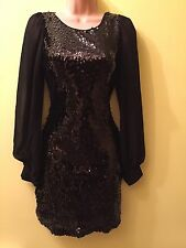Jane Norman Classy Black Party Dress Sequin Stretch Fitted Size 8 Cruise Holiday