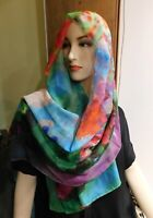 Large Hand Painted  Butterfly Floral Pink Blue Red  Scarf  Shawl