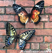 2 large 35cm metal Butterfly wall art decoration ornaments Yellow Orange, boxed
