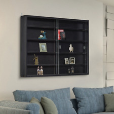 Wall Mounted Display Cabinet Black Rack Glass Door Holder 5 Tiers Shelving Unit