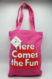 Ban.do Here Comes The Fun Pink and Red Canvas Tote Bag 15 x 12