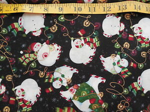 Susan Winget Christmas Lights Snowman Cotton Fabric By The Yard