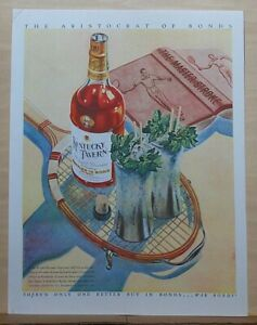1944 magazine ad for Kentucky Tavern Bourbon - cocktails served on tennis racket