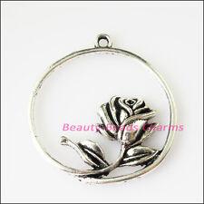 3Pcs Antiqued Silver Tone Round Circle Flower Charms Pendants 34x35mm