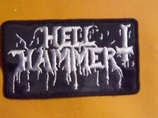 HELL HAMMER,SEW ON WHITE EMROIDERED PATCH