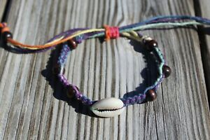 Adjustable Hemp Bracelet with Cowrie Shell Rainbow HANDMADE IN USA
