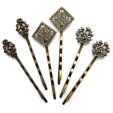 "Set of 6 Antiqued Gold 2.5"" Vintage Style Filigree Updo Hair Pins Bobby Slides"