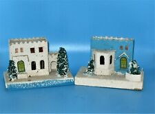 2 1950 Putz Christmas Houses With Trees