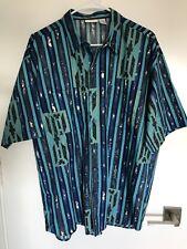 Vintage Hawaiian Shirt Gottex Camp Sz Large 100% Cotton Nos Vibrant blue color