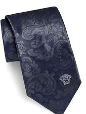 VERSACE COLLECTION MENS Medusa Head Floral Green/Grey Silk Tie PRICED TO SELL!