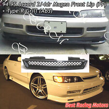 Mu-gen Style Front Bumper Lip (PP) + TR Style Grill (ABS) Fit 94-95 Honda Accord