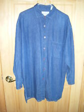 Mens PERRY ELLIS AMERICA BLUE JEAN LS Cotton Blue Button Shirt Sz M