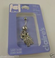 Owl clear crystal belly button navel ring piercing naval crystals dangle owls