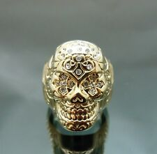 Very detail Pirate Skull Gold GP Crystal Forehead Eye Punk Ring NEW size8 NEW