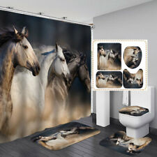 Horse Art Print Bath Mat Toilet Cover Rugs Shower Curtain Bathroom Decor