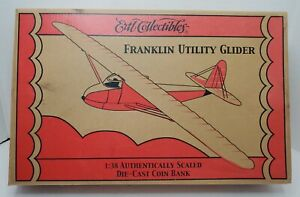 🔥 ERTL FRANKLIN UTILITY GLIDER 1/38 SCALE OSH DIE-CAST COIN BANK 2003 RC2 NEW🔥
