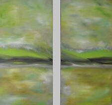 HUGE ART GREEN ORIGINAL PAINTING modern ART abstract ART peaceful ART GREENERY