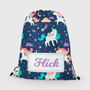 Personalised Unicorn Girls Kids Drawstring Bag PE Swimming School Bag