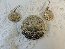 Victorian Antique Sterling Silver & Gold Floral Brooch & Earring Set 1884