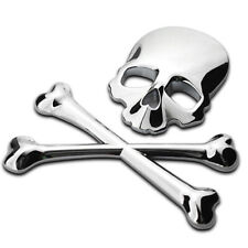 Car 3D 100%Metal Silver Skull Head Bone Logo Badge Modified Emblem Sticker