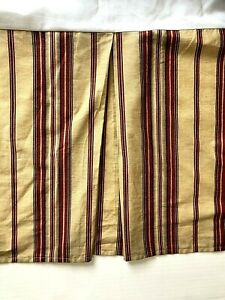 Ralph Lauren Striped QUEEN Bedskirt Dust Ruffle Tan Rust Red Box Pleat