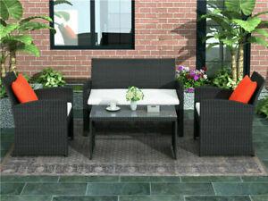 US 4PCS Outdoor Patio Rattan Furniture Set w/Cushion Loveseat&Chair+Coffee Table