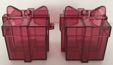 Tupperware Christmas Gift Box Ornaments 2 Piece Set Ruby Red Acrylic New