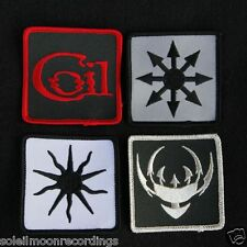 COIL: set of 4 cloth patches - scatology chaos black sun star logo 11914