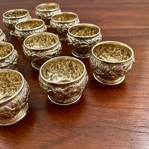 (12) EARLY TIFFANY STERLING SILVER GILT REPOUSSE INDIVIDUAL SALT CELLARS 1876-77
