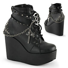 """POISON-101  5 """" GOTH COMBAT PUNK ROCK CASUAL  WEDGE LACE UP PLATFORM ANKLE BOOT"""
