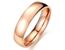 Women's Rose Gold Plated 5mm Stainless Steel Classic Wedding Band Ring Size M-U