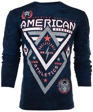 AMERICAN FIGHTER Mens LS T-Shirt ALASKA PATTERN Elephant Print NAVY Gym UFC $54