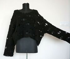 Hebbeding Black Lagenlook Wool Jumper Sweater, Size:2