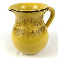Vintage Italian Tuscan Yellow Pottery Decorative Ceramic Pitcher Jug Vase 6.5""