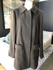 Ann Taylor Loft Women 14 Brown Wool Blend Button Front Longer Length Coat