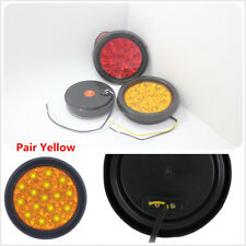 Car Truck RV LED Tail Lights Reverse Amber Yellow Lights Lamps Round Shape X2
