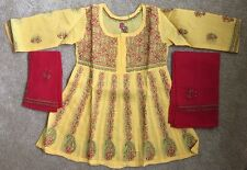 NWT Girls Chikan Lucknowi Shalwar Kameez Suit 2-3 Yr Anarkali Cotton Yellow Red