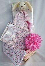 BABY SHOWER GIFT - Baby Girl Gift Basket, Romper, Bib Comforter & Headband