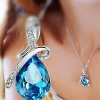 Damenmode Silberkette Kristall Strass Teardrop Anhänger Halskette Schmuck DE