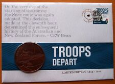 AUSTRALIA TROOPS DEPART LIMITED EDITION GOLD STAMPED STAMP & COIN  PNC COVER
