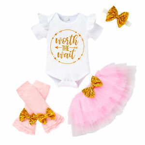 4PCS Newborn Baby Girl Outfits Romper Tutu Skirt Headband Legging Warmer Set