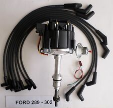 FORD Small Block 221,260,289 & 302 BLACK HEI Distributor + Spark Plug wires USA