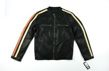 Wilsons Leather cycle leather Jacket Sz. Small Black Motorcycle Coat Lined Prem
