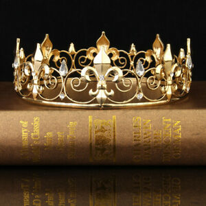 Men Women Imperial Medieval Fleur De Lis King Crown Crystal Plated Prom Party